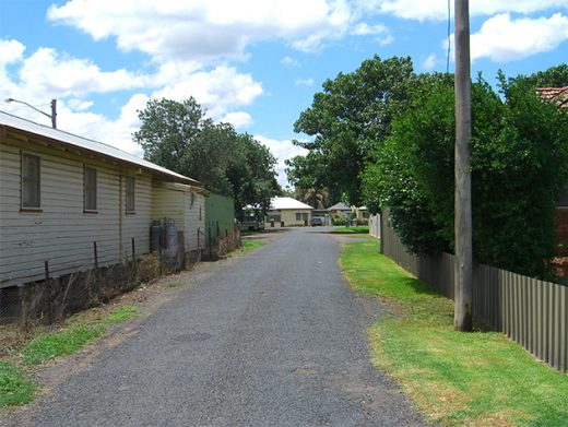 Laneway in country town Wellington Central West NSW