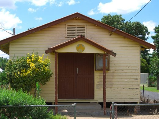 Old hall with peeling yellow paint Wellington Central West NSW