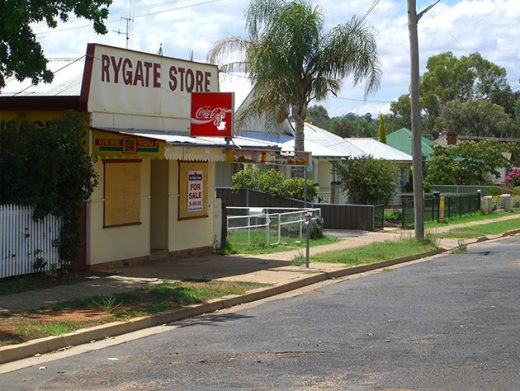 Rygate Store with broken coca cola sign in small town Central West NSW